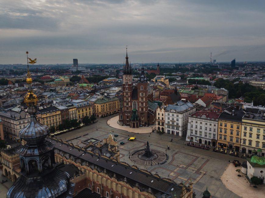 Rynek Główny, the main square of Krakow along the Amber Road