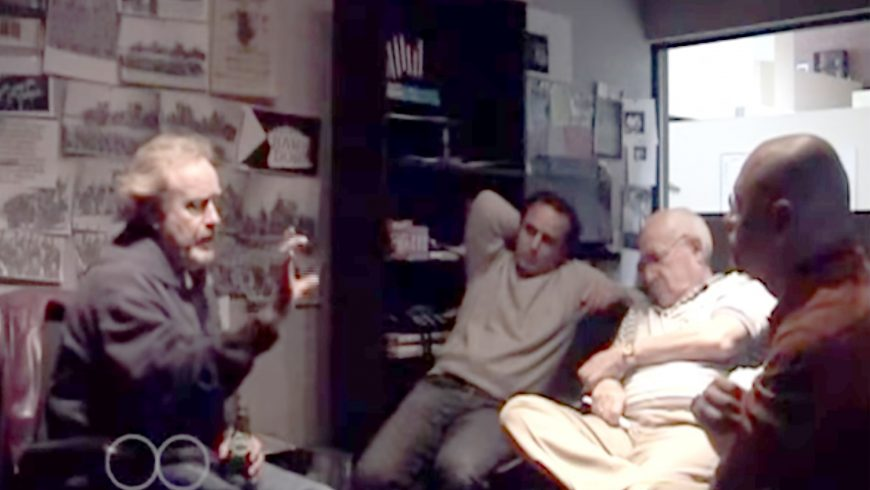Left to Right: Ridley Scott, Oscar Winner Editor Pietro Scalia, Executive Producer Branko Lustig and Kampah during a Black Hawk Down film title reunion at Jerry Bruckheimer's offices in Santa Monica