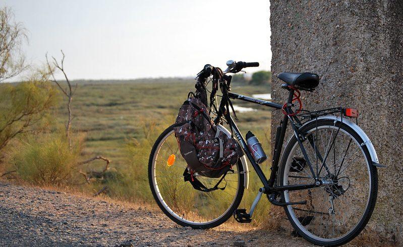 bike leaning on the wall in Girona