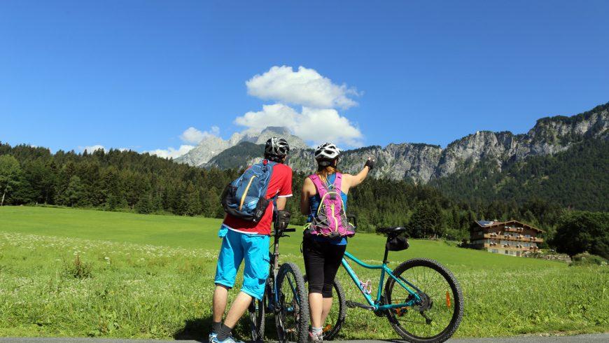 People riding their mountain bikes