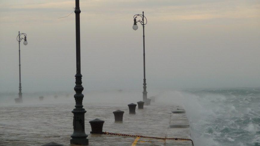Bora on Molo Audace in Trieste