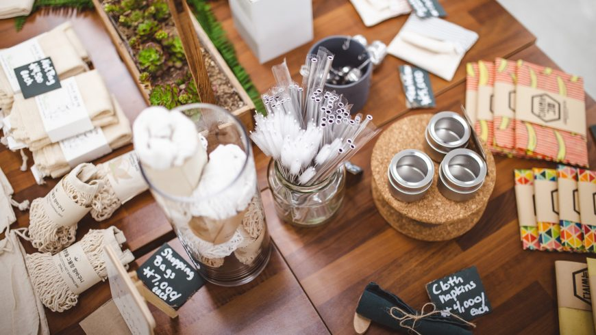 Eco-friendly products on a table.