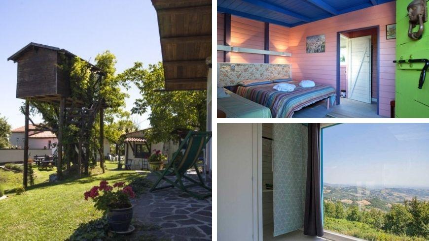 Room and panoramic view at Laperegina agritourism, Umbria
