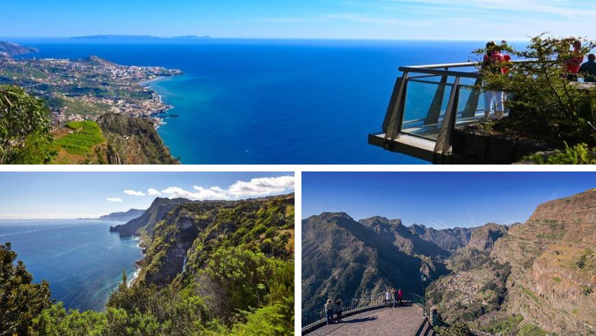 Miradouros, Madeira. Photos by tripadvisor.com, blog.madeira.best, visitmadeira.pt