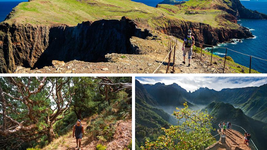 Hiking, Madeira. Photo by lido-tours.com, digitaltravelcouple.com, visitmadeira.pt