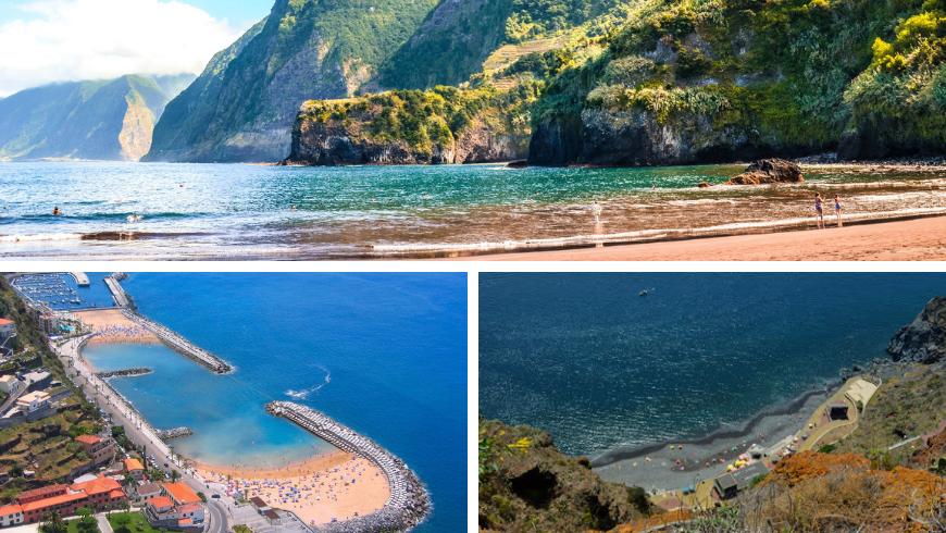 Beaches in Madeira. Photos by visitmadeira.pt, wikipedia.org, tropicasamadeira.com