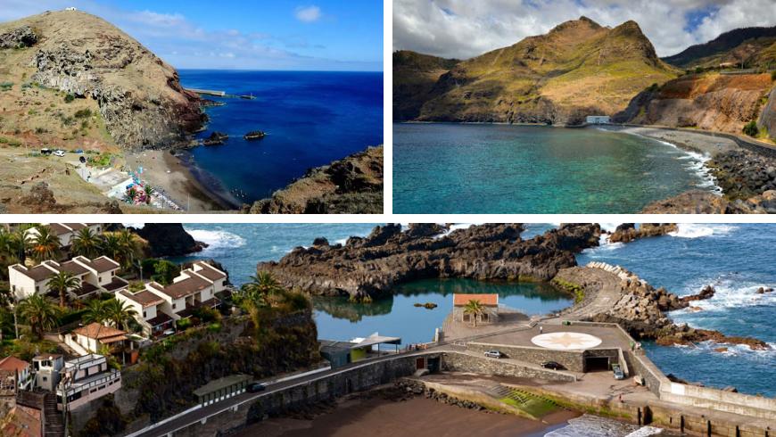Madeira's beaches. Photos by almadeviajante.com, feriasemportugal.com, visitmadeira.pt