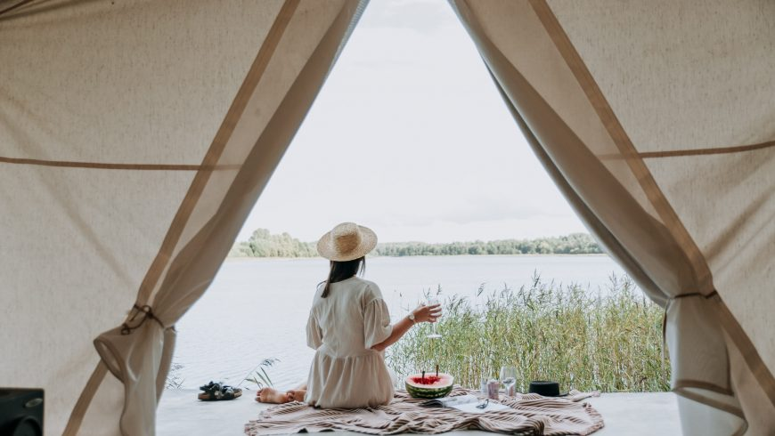 A woman glamping