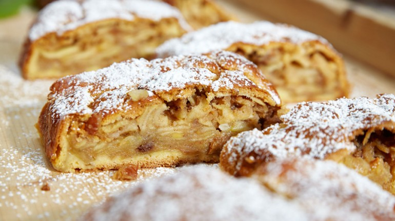 a slice of strudel, typical cake with apples